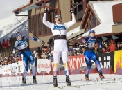 Alberta World Cup XC skiing finish celeb