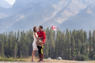 With flag and mountains_pamdoyle w
