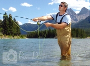 Fly fishing Bow River, Canmore, Alberta