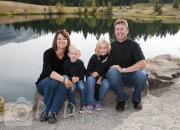 Family photo by cliff at Quarry Lake