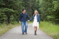 Alison and Scott walk forest path w