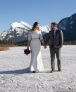 Wedding walk on ice Mt Rundle Banff ww_pamdoyle