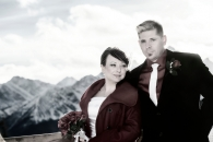 Banff Gondola wedding couple