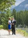 Wedding couple on mountain path
