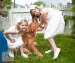 Wedding detail flower girls and dog