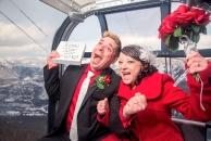 Banff Gondola happy cheer wedding