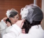 Bride reflected in mirror