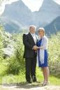 Wedding smiling couple mountains