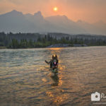 Smokey Skies Make Fiery Sunsets in Canmore, Alberta, Canada