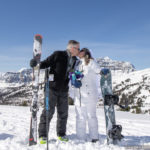 Wedding on Skis and Snowboard at Sunshine Village in Banff National Park