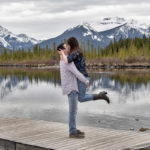 Banff Engagement Photos in May with Mountains